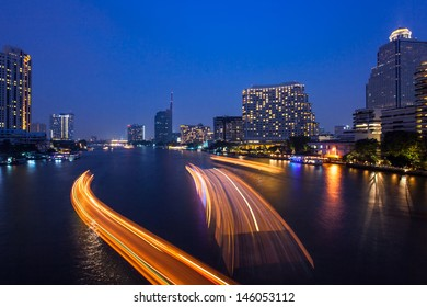 Bangkok cityscape with river at night. Chao Phraya river scene in Bangkok City, Thailand,cityscape