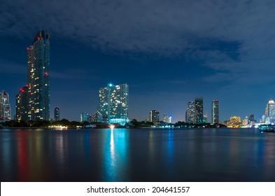 Bangkok cityscape river side at twilight time,Thailand