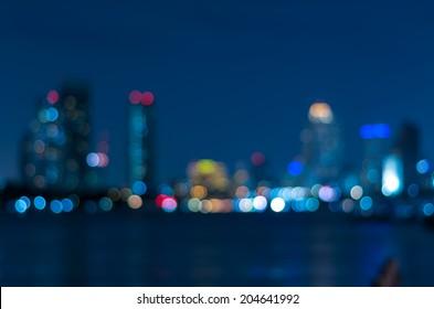 bangkok cityscape river view at twilight time, Blurred Photo bokeh