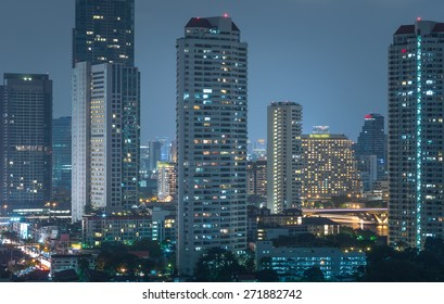 Bangkok cityscape river view at twilight time