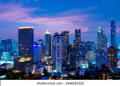 """Bangkok city-scape skyscraper night view twilight while sunset in business and downtown residential area """"Sukhumvit"""""""