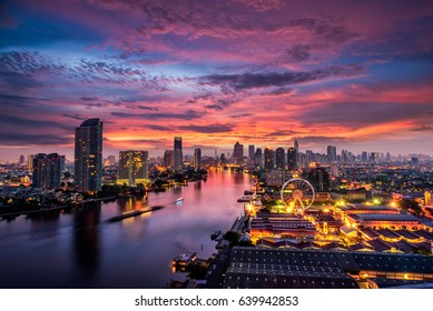 Bangkok cityscape. Bangkok sunrise in the business district. at twilight