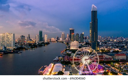 Bangkok cityscape. Bangkok sunrise in the business district. at twilight
