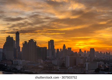 Bangkok cityscape at sunrise time