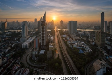 Bangkok cityscape sunrise from the top of Building