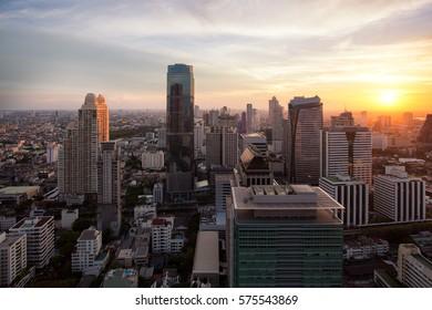 Bangkok cityscape sunset