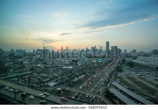 Bangkok Cityscape and sunset at evening time