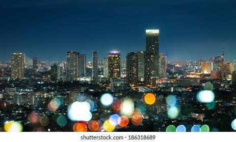 Bangkok Cityscape at twilight, Color of night life (Thailand)