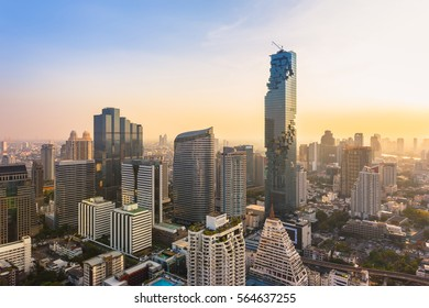 Bangkok cityscape, view from high building on Srinakarin and Silom road in the evening