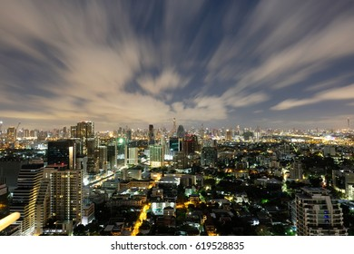 Bangkok Cityscape, a view over business district with high building at night time (Bangkok, Thailand)