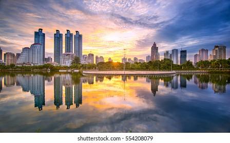 Bangkok cityscape view at park in morning.