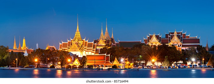 Bangkok city,Thailand.  Skyline view of The Grand Palace,King Palace ,Wat phra kaew or emerald Buddha temple at night. Bangkok is big capital well known for vibrant street life and cultural landmarks