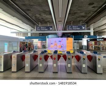 Bangkok city/Thailand:August 17 2019: Ticket gate of BTS sky train in Bangkok.
