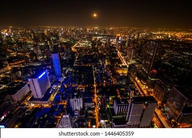 Bangkok city/Thailand-Dec 23 2018: The great city of Bangkok view from Mahanakhon sky walk.