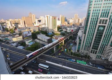 BANGKOK - Dec 06: BTS railway at Phloen Chit Station on Dec 06, 2013. The Bangkok Mass Transit System is an elevated transit system consisting of 32 stations along in Bangkok, Thailand.