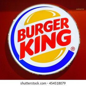 BANGKOK - DEC 10:  Burger King logo  at Don Mueang International Airport on Dec 10, 2015 in Bangkok.