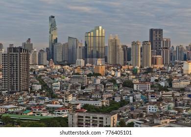Bangkok - Dec 17, 2017: The sun rises over the Thai capital