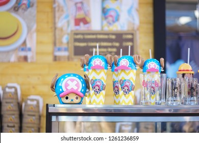 Bangkok - Dec 17, 2018: A plastic Yeti glass inspired by Tony Tony Chopper, served at One Piece cafe (temporary cafe only 4 days) Event is free of entry. One piece is a successful Japanese Manga&anime