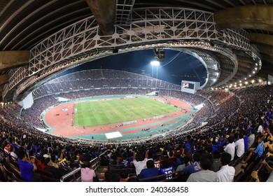 BANGKOK, DEC 17:Top view of Rajamangala stadium during the competition 2014 AFF Suzuki Cup between Thailand and Malaysia at Rajamangala stadium on December 17, 2014 in Bangkok, Thailand.