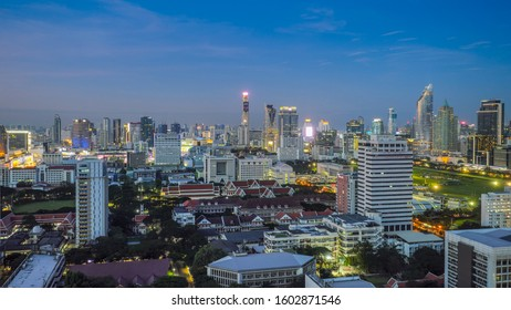 BANGKOK - DEC 2: View of the business area on 2 December, 2019 in Bangkok, Thailand. Bangkok is the most populated city in Southeast Asia with one sixth of population live and visit Bangkok every day