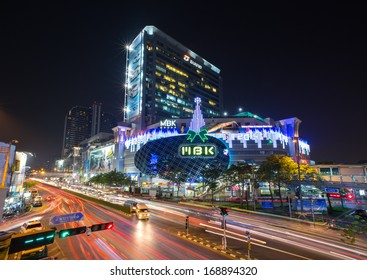 """BANGKOK - DEC 27: MBK's most famous shopping mall in Thailand, organize Welcome to Christmas and New Year festival 2014 on December 27,2013 at """"MBK"""" Bangkok,Thailand"""