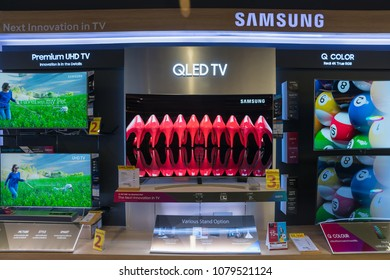 BANGKOK - DEC 3 :  Samsung QLED TV show at Power Buy in Central Chidlom, Bangkok on Dec 3, 2017. It is owned by Central Pattana for selling electronic merchandises.