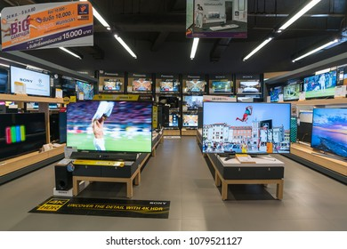 BANGKOK - DEC 3 :  TV LED show at Power Buy in Central Chidlom, Bangkok on Dec 3, 2017. It is owned by Central Pattana for selling electronic merchandises.