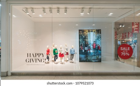 BANGKOK - DEC 30 :  H&M kids fashion on mannequins display at Central Rama II on Dec 30, 2017 in Bangkok, Thailand.