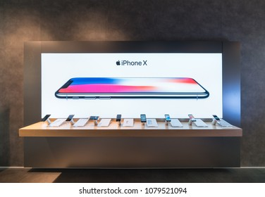 BANGKOK - DEC 30 : Iphone x display at Apple store in Central Rama II on Dec 30, 2017 in Bangkok, Thailand.