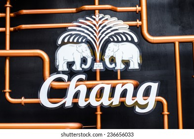 BANGKOK - DEC 6 : Chang Craft Selection Logo at Central World on Dec 6, 2014 in beer festival Bangkok. Chang is owned by ThaiBev, the largest beverages company in Thailand