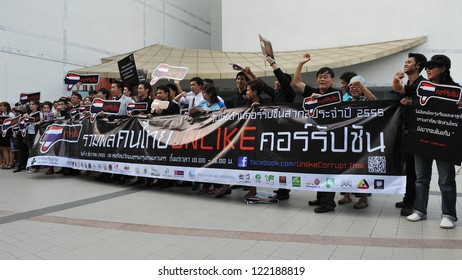 BANGKOK - DEC 9: Protesters attend an anti-corruption rally outside Bangkok Art and Culture Centre organised by the United Nations Development Programme on Dec 9, 2012 in Bangkok, Thailand.