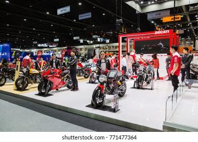 BANGKOK - December 1, 2017 :Ducati bigbike with people on display at the 39th BANGKOK INTERNATIONAL MOTOR SHOW 2017 on December 1, 2017 in Bangkok, Thailand.