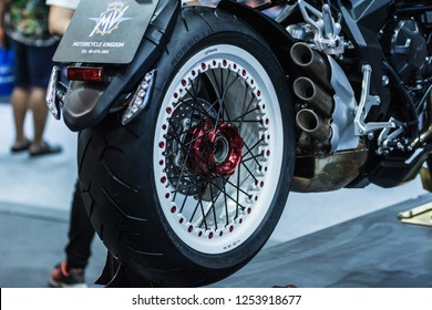 BANGKOK - December 10, 2018 : mv agusta 800 rr dragster on display at Bangkok thailand international motor expo 2018(Motor expo) in Bangkok, Thailand