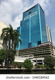 BANGKOK - DECEMBER 12, 2017: Charn Issara Tower 2 at the Saen Saep Canal. It is a commercial and rental office building of 36 storeys with an easy accessibility to business and entertaining districts.