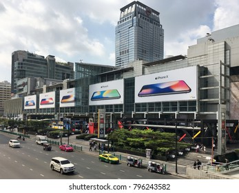 BANGKOK - DECEMBER 13, 2017: Central World mall facade with iPhone X advertisement boards. Central World is the tenth largest shopping complex in the world.