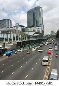 BANGKOK - DECEMBER 13, 2017: Ratchadamri Street by the Central World mall. Central World is the tenth largest shopping complex in the world.