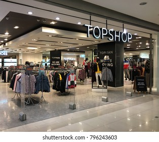 BANGKOK - DECEMBER 13, 2017: Topshop store in Central World mall. Topshop (originally Top Shop) is a British multinational fashion retailer of clothing, shoes, makeup and accessories.