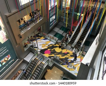 BANGKOK - DECEMBER 14, 2017: MBK Center decorated for Christmas. It is a large shopping mall that was the largest one in Asia when it opened in 1985. More than 100,000 people visit it daily.
