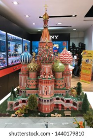 BANGKOK - DECEMBER 14, 2017: A scale model of Moscow's St. Basil's Cathedral at MBK mall. It is a large shopping mall popular with both locals and tourists.