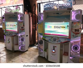 BANGKOK - DECEMBER 2017: Dance Evolution (known as DanceMasters in North America) arcade in MBK mall. It is a dancing video game developed by Konami, the makers of the Dance Dance Revolution series