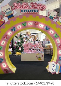 BANGKOK - DECEMBER 2017: Hello Kitty Kittyful store located in the Central World mall. Hello Kitty is one of the most successful marketing brands in the world produced by the Japanese company Sanrio