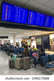 BANGKOK - DECEMBER 2017: Passengers in the Domestic departures area of the Don Mueang airport. The airport is one of the worlds oldest international airports and Asias oldest operating airport.