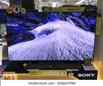BANGKOK - DECEMBER, 2017: Sony 4K HDR TV screen in MBK Center mall. Sony Corporation is a Japanese multinational conglomerate corporation, one of the leading manufacturers of electronic products