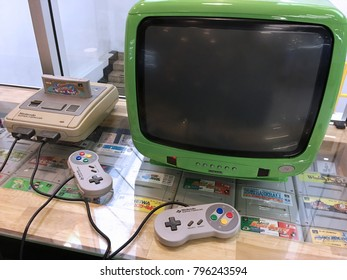 BANGKOK - DECEMBER 2017: Vintage Nintendo Super Famicom video game console for sale in Pantip Plaza. The console was released in 1990 in Japan and South Korea