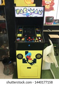 BANGKOK - DECEMBER 2017: Vintage Pac Man arcade for sale in Pantip Plaza. The arcade game developed by Namco was first released in1980. It was licensed for distribution in the US by Midway Games.