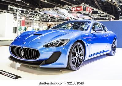 Bangkok - December 28 : Blue Maserati series  Gran Turismo - in display at Thailand international motor expo 2014 on December 28, 2014 in Bangkok Thailand