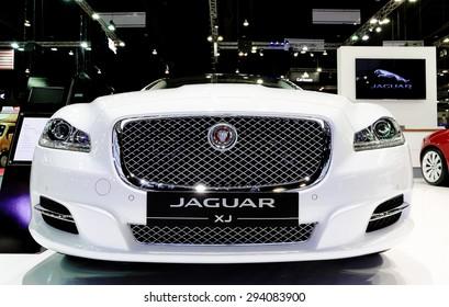 Bangkok - December 28 : front grill of  Jaguar series XJ  Premium luxury LWB 2.0L TI - in display at Thailand international motor expo 2014 on December 28, 2014 in Bangkok Thailand