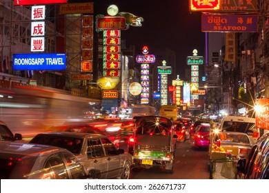 BANGKOK - DECEMBER 31: Busy Yaowarat Road in the night on December 31, 2014 in Bangkok. Yaowarat Road is a main street in Bangkok's Chinatown.