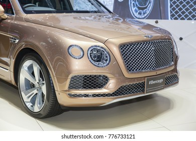 BANGKOK - December 3:Zoom front of  Bentley Bentayga car on display at Motor Show 2017 on December 3, 2017 in Bangkok, Thailand.