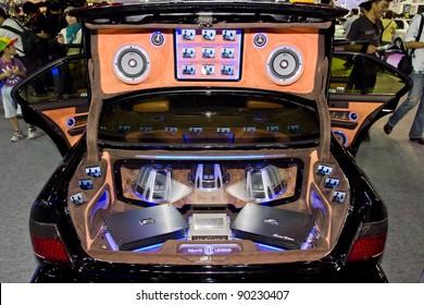 BANGKOK - DECEMBER 4: Car Audio Show Installation in Nissan sunny at the 28th Thailand International Motor Expo on December 4, 2011 in Bangkok, Thailand.